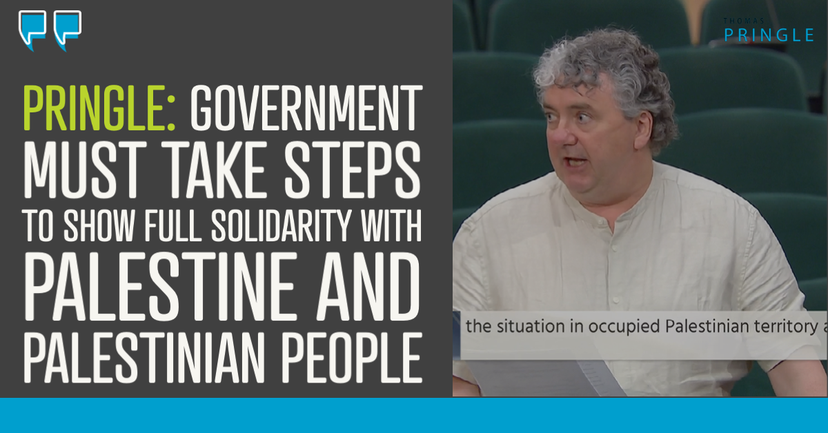 Pringle: Government must take steps to show full solidarity with Palestine and Palestinian people