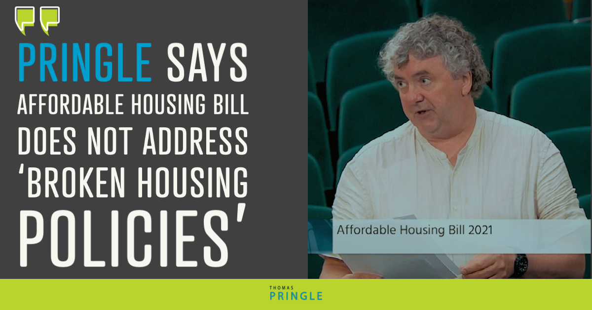 Pringle says affordable housing bill does not address 'broken housing policies'